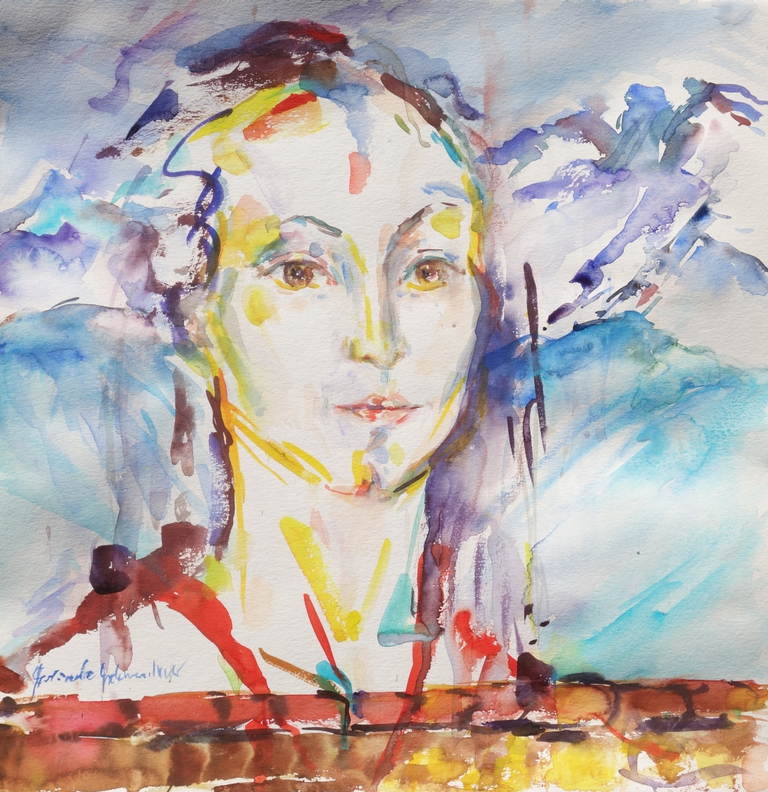 NR 5 Prtrait in Landschaft Aquarell